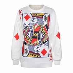 2017 King of Diamonds Crewneck Sweatshirt the playing card vibrant jumper  Men Sweats Hoodies #Affiliate
