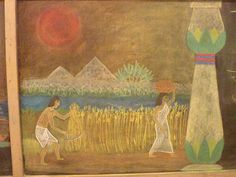 Waldorf ~ 5th grade ~ Ancient Egypt ~ Harvesting Grain ~ chalkboard drawing