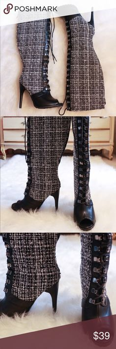 Tweed Peep Toe Lace Up Knee High Heel Boots Product Description Bio: Look stunning in these knee highs! Featuring corset-style lace up closure at front and stiletto heels. Details: Zip closure at back Heel: 5 inches Size: 9 Color: Black, white Condition:  Excellent JustFab Shoes Heeled Boots