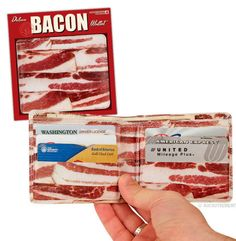 This Bacon Wallet looks like it's made from bacon. The perfect gift for the bacon lover. Bring home the bacon in this wallet! Gag Gifts, Funny Gifts, Best Beef Jerky, Weird Stuff On Amazon, Funny Stuff, Odd Stuff, Awesome Stuff, Funny Things, Geek Stuff