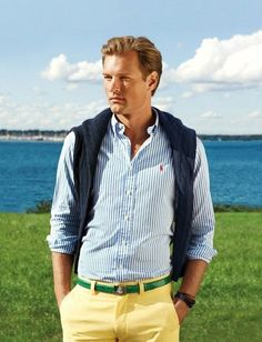 Green belt on yellow pantd Ralph Lauren Menswear Spring-Summer 2013 Campaign: Burst of colors and prints are Guilty? ~ Men Chic- Men's Fashion and Lifestyle Online Magazine