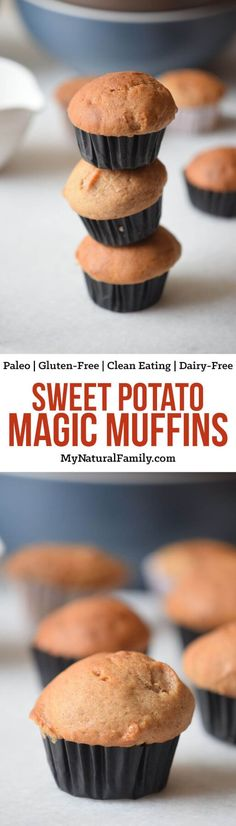 There are no flours at all in these flourless sweet potato muffins. Just sweet potato, eggs, honey, coconut, water and cinnamon. Seriously. They are like magic! They are Paleo, Gluten-Free, Clean Eating, and Dairy-Free too.