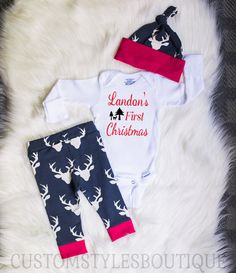 Baby Boys Coming Home Outfit, First Christmas, Customized Name, Deer Leggings And Hat, Red Cuffs, Baby Boys First Christmas Outfit