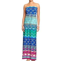 Old Navy Womens Jersey Maxi Tube Dresses - Teal print