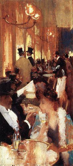 Au Cafe, Willard Metcalf 1888