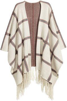H&M - H&M+ Jacquard-knit Poncho - Natural white/check - Ladies