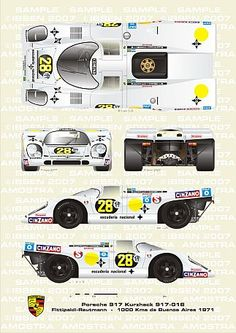 Porsche 917 (Kurzheck 917–018) driven by Fittipald / Reutmann at 1000Kms in Buenos Aires in 1971
