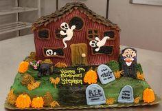 halloween birthday cakes | Haunted house theme Halloween birthday cake with Dracula and ghosts ...