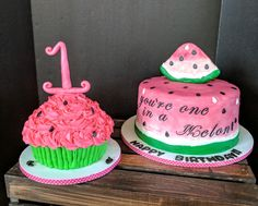 """""""you're One In A Melon"""" Watermelon birthday cake and smash cake."""