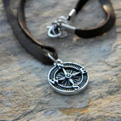 Men's leather cord necklace simple rustic jewelry gift for him under 25 compass necklace graduation gift handmade nature inspired jewelry