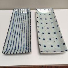 Indigo glazed trays dots and stripes Japanese ceramics www.clothandgoods.com