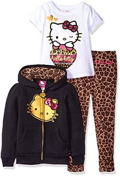 Hello Kitty Girls' Little Girls' 3 Piece Zip up Hoodie Legging Set with T-Shirt Shirt and Printed Leggings, True Black, Cute Hello Kitty 3 piece hooded legging set with gorgeous applique and sugar glitter details Hello Kitty House, Pink Hello Kitty, Toddler Girl Outfits, Kids Outfits, Cute Outfits, Hello Kitty Clothes, Toddler Leggings, Hello Kitty Collection, Kawaii Clothes
