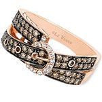 Le Vian 14k Rose Gold Ring, Chocolate (5/8 ct. t.w.) and White Diamond (1/10 ct. t.w.) 2-Row Buckle Ring