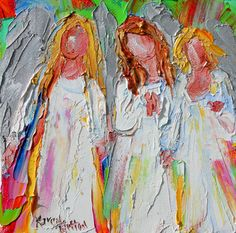 Original oil painting Angel Friends 6x6 palette knife impressionism on canvas fine art by Karen Tarlton
