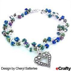 DIY Iridescent Peacock Blues Beaded Chain Bracelet