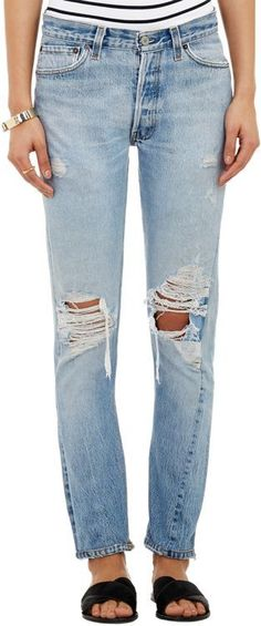 RE/DONE Straight Skinny Jeans-Blue