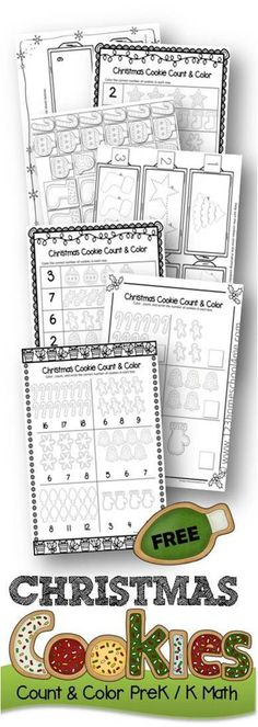 FREE Christmas Cookies Count and Color Preschool Kindergarten Math Worksheets - Clever, fun Christmas Printables for homeschool, holiday centers, and more. counting 1-20