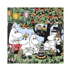 Lovely Party Moomin patterned napkins. High quality napkins made in Finland, 20 pcs, size 33 x 33 cm.Kauniit Partymuumi servetit. Korkealaatuiset, valmistettu Suomessa. 20 kpl, koko 33 x 33 cm.Vackra Partymumin servetter. Högkvalitet, tillverkade i Finland. 20 st, storlek 33 x 33 cm.