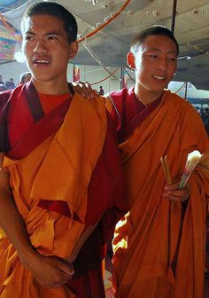 Brother monks on Bodhisattva Day