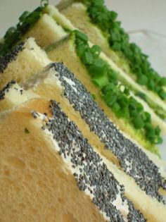 Tea sandwich Recipes: Radish Poppyseed, Cucumber Coriander Chutney and Carrot Ginger! Love how the edges are decorated! Tips also included!