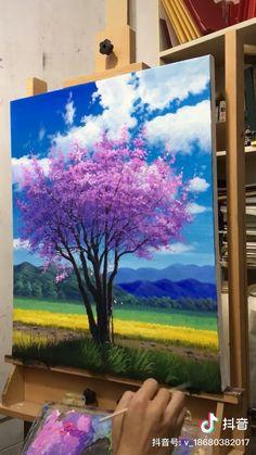 Small Canvas Art, Diy Canvas Art, Acrylic Painting Canvas, Multiple Canvas Art, Art Drawings Sketches Simple, Canvas Painting Tutorials, Art Painting Gallery, Sky Art, Art Abstrait