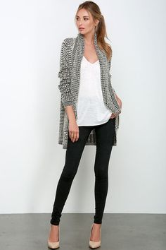 Loung the day away in the Extra Easeful Black and Beige Cardigan Sweater