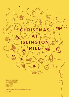 Lovely Christmas Invite to Salford's Islington Mill, Manchester. Lovingly designed by Design By Day