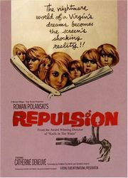 "33 ~ Repulsion ~ ""The first English-language film of director Roman Polanski is a psychological thriller in the vein of Alfred Hitchcock's Psycho (1960) and his own later film Rosemary's Baby (1968). Catherine Deneuve stars as Carol Ledoux, a Belgian manicurist living with her sister, Helen (Yvonne Furneaux), in a London flat. Simultaneously attracted and repulsed by sex, Carol is a virgin who finds her sister's relationship with a married man, Michael (Ian Hendry), extremely disturbing…"