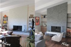 marin remodel design.  Fireplace before and after.