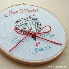 Porta Anillos Bastidor. Bodas. Wedding Art Embroidery Hoop.www.arorua.es