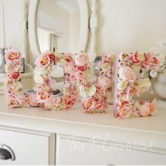 Pink flower letters / Pink / Light pink / White / Flower letter set / Rose letter / Sweet heart table / Wedding floral décor / Decorative