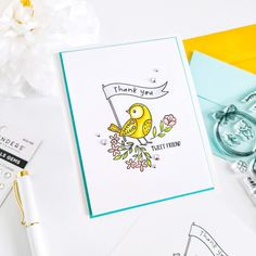 Birthday Sentiments, Spellbinders Cards, Embossing Machine, Stamping Tools, Alcohol Markers, Bird Cards, Glue Crafts, The Balloon, Clear Stamps