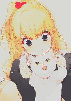 Kawaii anime girl with neko