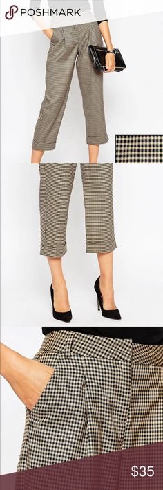 ASOS Tan and Black Check Trousers US12 Baggy/loose fit, cropped bottom, barely worn. ASOS Pants Trousers