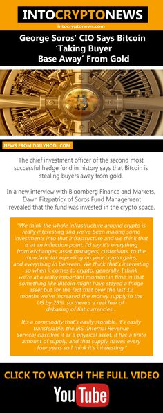 The chief investment officer of the second most successful hedge fund in history says that #Bitcoin is stealing buyers away from #gold. In a new interview with #Bloomberg Finance and Markets, Dawn Fitzpatrick of Soros Fund Management revealed that the fund was invested in the #crypto space. Gold News, Fund Management, George Soros, Cryptocurrency News, Dawn, Finance, Investing, Interview, Marketing