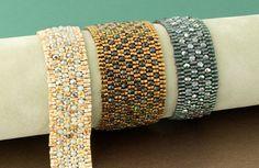 Peyote pavé bracelet Embed fire-polished beads into a two-drop peyote stitch cube bead bracelet for a cobblestone effect.