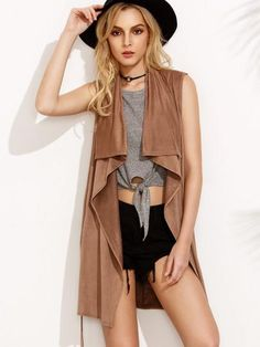 Faux Suede Self Tie Draped Vest - Zooomberg