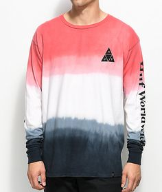 Casual and fashionably streetwear, HUF's Dip Dyed Black and Red Long Sleeve T-Shirt has a tri-toned faded dye colorway that sports the brand's logo emblem on the front left chest while featuring the brand's logo script across both sleeves. Trendy Hoodies, Cool Hoodies, Off White Hoodie Men, Dip Dye Clothes, Dope Shirt, T Shirt, Dip Dye Shirt, Adidas Hoodie Mens, Flannel Over Hoodie