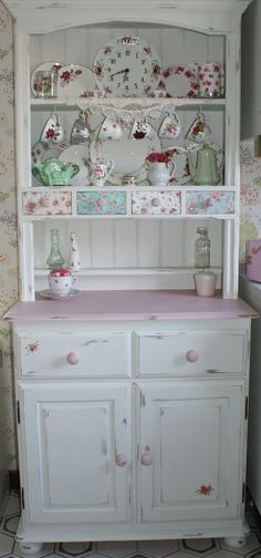 Shabby Chic Kitchen Dresser Painted In Annie Sloan Old White And Antoinette With Decoupaged Drawers