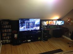 Man Cave Ideas Nerd : My ps4 xboxone gaming setup tv bench and room