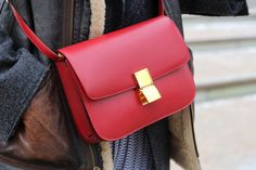 Red Celine Box Bag. Whoaaa. I love it in red as well. I actually want it in all the available colors. Haha