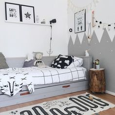 Black, white, grey and graphic kids room