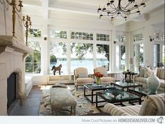 15 Pretty Living Room Windows   Home Design Lover TABLES AND ARRANGEMENT