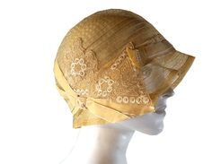 Stunning Antique 1920s Flapper Era Gold Cloche Hat with Velvet Trim & Bakelite Pin via Etsy