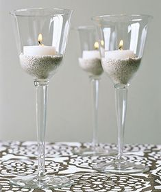Wine Glasses as Candle Holders  ...  Elevate tealights or plain votives. Place a candle in a thick-walled glass and anchor it with a thin layer of sand or small pebbles for more elegant mood lighting.