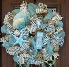 Turquoise and Burlap BEACH WREATH by decoglitz on Etsy