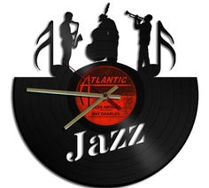 Jazz Theme Vinyl Record Clock Upcycled vinyl by geoartcrafts, €18.90                                                 there