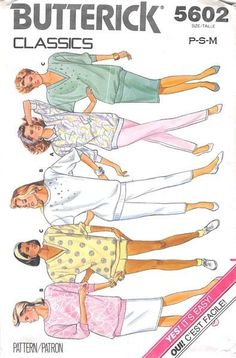 BUTTERICK 5602 - FROM 1987 - UNCUT - MISSES TOP, TROUSES, SHIRT, & SHORTS