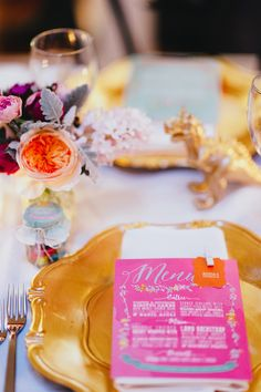 pink and gold place setting, photo by Jess Jackson http://ruffledblog.com/intimate-queensland-wedding #weddingideas #papergoods #placesetting