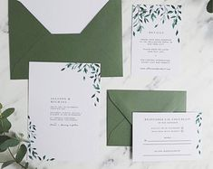 Wedding Invitation Suite Printable Greenery Wedding Invitation Suite Template Green Leaves Wedding Set Templett Wedding Invite Details RSVP